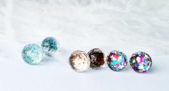 glitter glass stud earrings